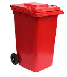 Бак для мусора  пластиковый 240л.,красный.  240H2-19R - Фото