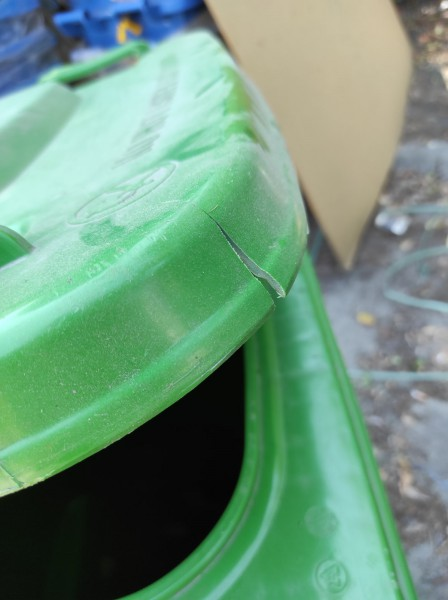 Бак для сміття пластиковий 360 л., зелений. 360А-2G. (уцінка) - Фото №2