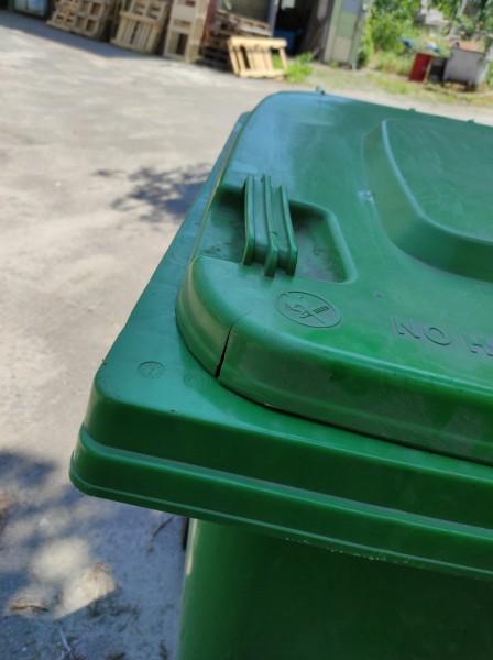 Бак для сміття пластиковий 360 л., зелений. 360А-2G. (уцінка) - Фото №3