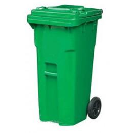 Бак для мусора  пластиковый 240л., зеленый. 240E-14G.  - Фото