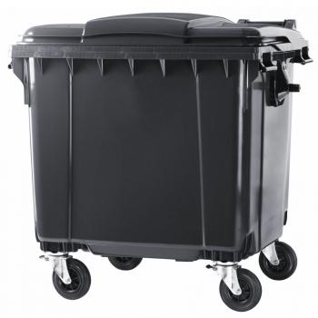 Контейнер пластиковий євростандарт, плоска кришка, темно-сірий. MGB1100 - Фото №1