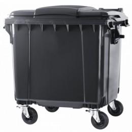 Контейнер пластиковый евростандарт, плоская крышка, темно-серый.  MGB1100 - Фото