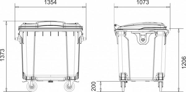 Контейнер пластиковий євростандарт, плоска кришка, темно-сірий. MGB1100 - Фото №2