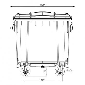 Контейнер пластиковий євростандарт, плоска кришка, темно-сірий. MGB1100 - Фото №3