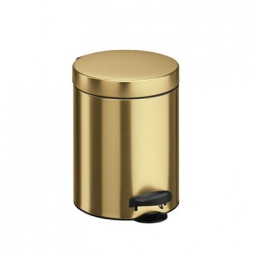 Корзина (урна) с педалью, металл золотистого цвета 5 л. M-705GOLD - Фото №1