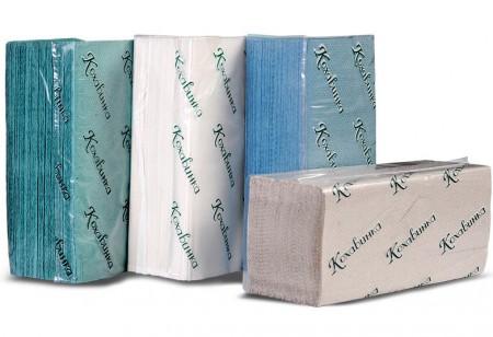 Паперові рушники листові, V-укладка, макулатурні, зелені 'Кохавинка' - Фото №1