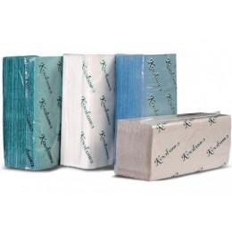 Бумажные полотенца листовые, V-укладка, макулатурные, зеленые