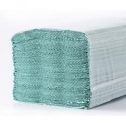 Бумажные полотенца листовые,  V-укладка, макулатурные, зеленые.эконом M102.