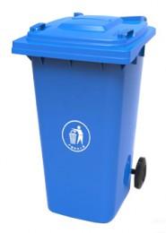Бак для мусора  пластиковый, синій,  120л.  120A-9BL - Фото