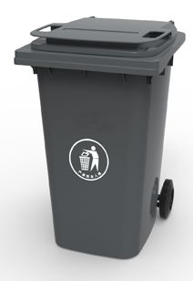 Бак для сміття пластиковий 360 л. темно-сірий. 360А-2DG - Фото №1