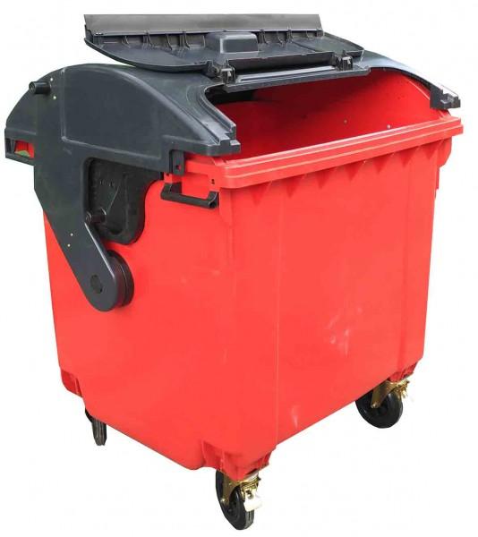 Контейнер пластиковий сферична кришка, 1100 л, червоний, євростандарт. - Фото №1