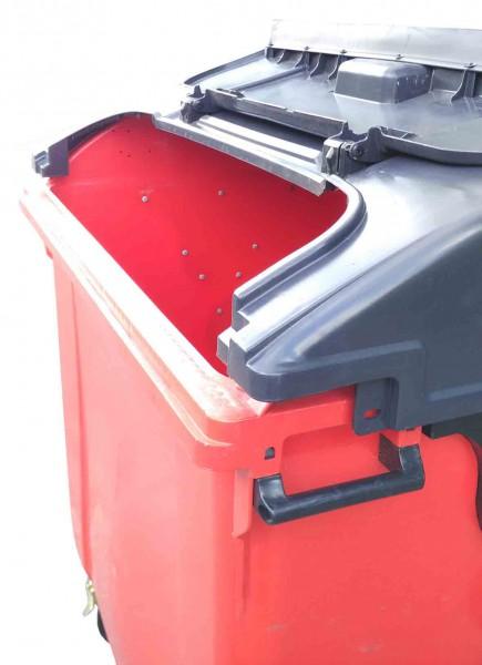 Контейнер пластиковий сферична кришка, 1100 л, червоний, євростандарт. - Фото №4