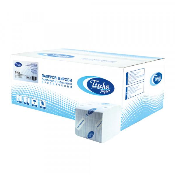 Туалетная бумага листовая, целлюлозная, белая. Без тиснения. B-308. - Фото №1