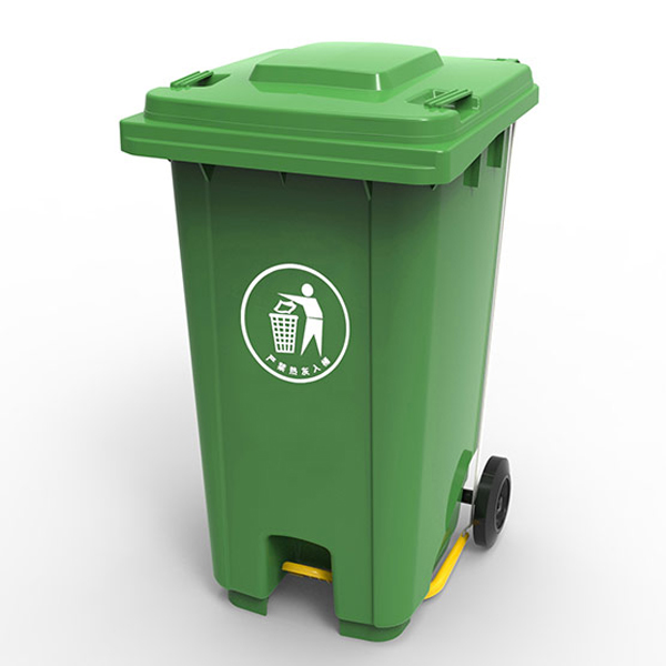 Бак для сміття з пластиковою  педаллю 240л., зелений. 240U-19G - Фото №1