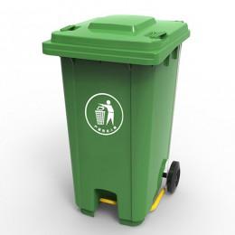 Бак для мусора  з пластиковой педалью 240л., зеленый. 240U-19G - Фото