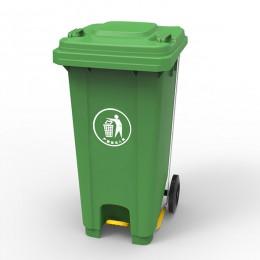 Бак для мусора  з пластиковой педалью 120л., зеленый. 120U-14G - Фото