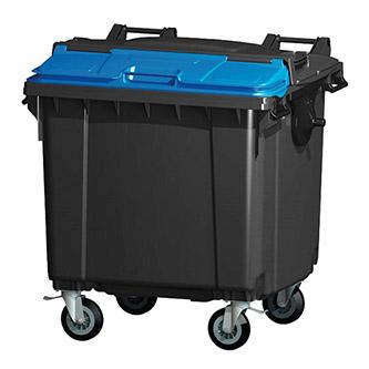 Контейнер пластиковый евростандарт, плоская крышка Split-Lid, темно-серый. MGB1100 - Фото №1