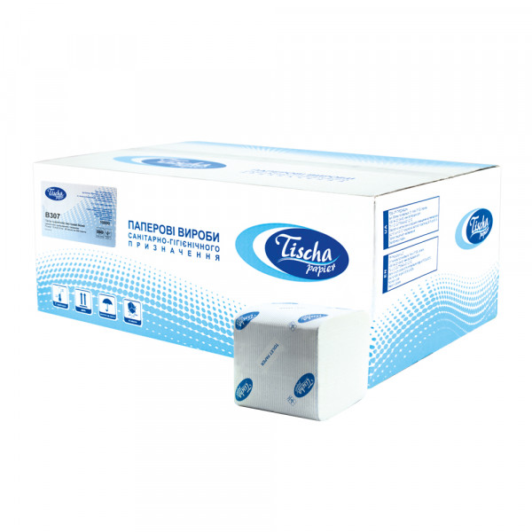 Туалетний папір листовий, целюлозна, білий 1 шар, 250 листів.  B-307 - Фото №1