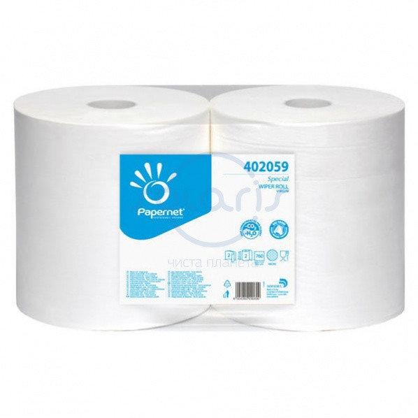 Промышленные салфетки протирочные в рулоне 2 - сл., белые, OVER SOFT. IMB-402059. - Фото №1
