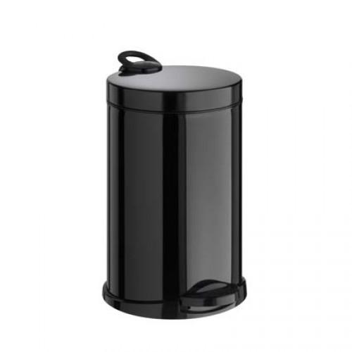Корзина для сміття метал чорний 14 л,  з педаллю. M714B - Фото №1