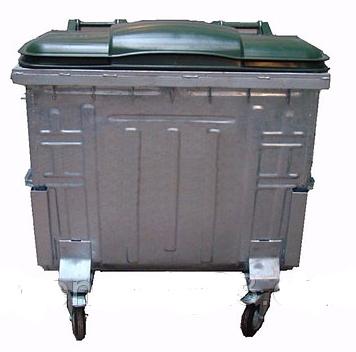 Контейнер оцинкований 1100, плоска кришка Split-lid. EN 840-2 комбі - Фото №1