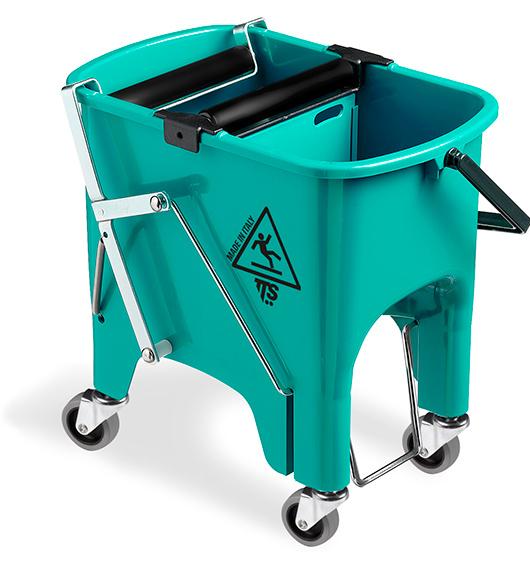 Відро для прибирання з віджимом SQUIZZY зелене з колесами, 15л.  0V006415 - Фото №1