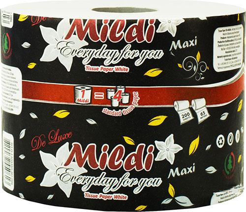 Туалетная бумага Mildi De Luxe Maxi двухслойная 65 м 200 отрывов 9 рулонов Белая. K-65 - Фото №2