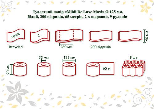Туалетная бумага Mildi De Luxe Maxi двухслойная 65 м 200 отрывов 9 рулонов Белая. K-65 - Фото №3