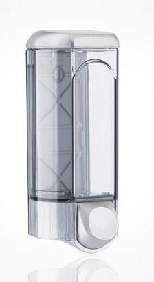 Дозатор рідкого мила 0.8 л, сатиновий/прозорий, пластик 562satin - Фото №1