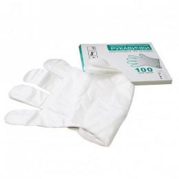 Перчатки одноразовые полиэтиленовые 100шт. Размер M.  500111 - Фото