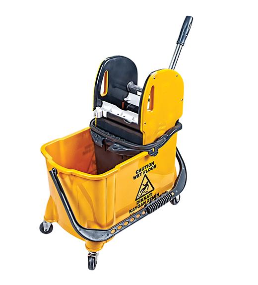 Уборочное ведро на колесах с отжимом желтое. HTS731Y - Фото №1