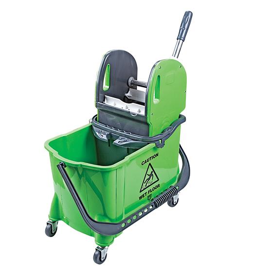 Прибиральне відро на колесах з віджимом зелене. HTS731G - Фото №1