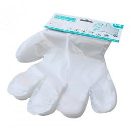Перчатки одноразовые полиэтиленовые с еврослотом 100шт. Размер L.  510112 - Фото