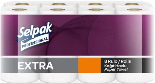Паперовий кухонний рушник Selpak Professional Extra двошаровий 8 рулонов. 32661120 - Фото №1
