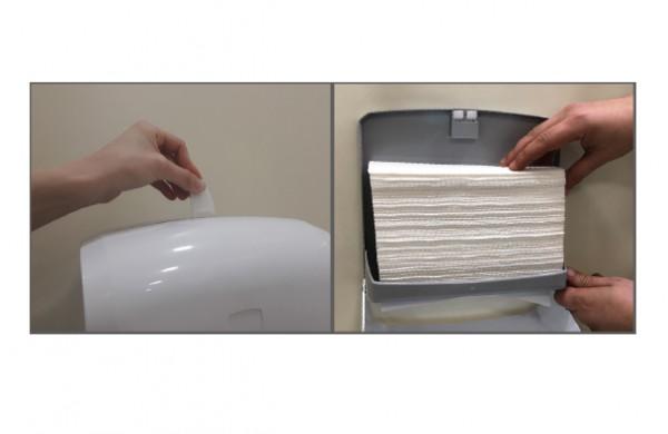 Держатель бумажных полотенец C, V складка, белый пластик. K40 - Фото №4