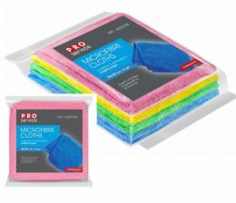 Серветка мікрофібра 30 * 30см 4шт PRO мікс кольорова.  18303700 - Фото