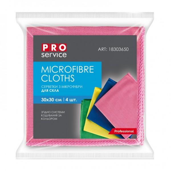 Серветки з мікрофібри PRO service Standard 30*30 см,  для скла мікс, 4 шт. 18303650 - Фото №1