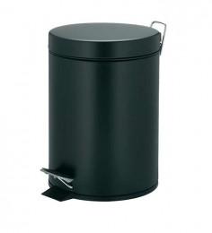 Корзина для мусора  с педалью 12 л,  нержавеющая сталь, черная отделка. S12L_Black - Фото