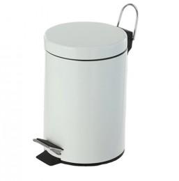 Корзина для мусора  с педалью 12 л,  нержавеющая сталь, цвет белый. S12L_White - Фото