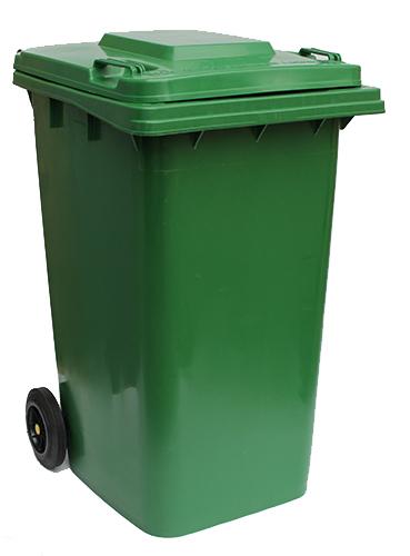 Бак для сміття  240 л., зелений.  240H2-19G. - Фото №1