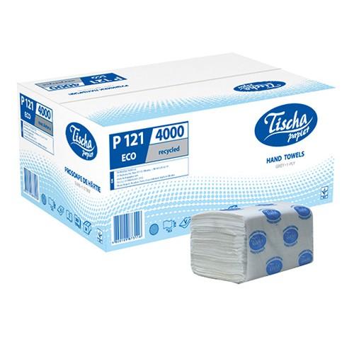 Бумажные полотенца листовые, V-укладка, макулатурные, серые. P121 - Фото №1
