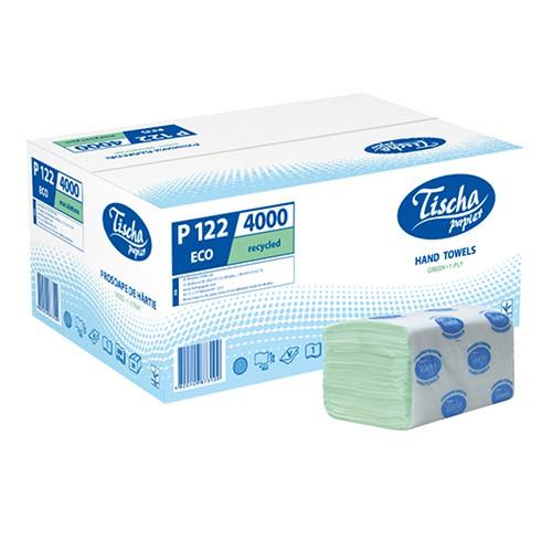 Бумажные полотенца листовые, V-укладка, макулатурные, зеленые. p122. - Фото №1