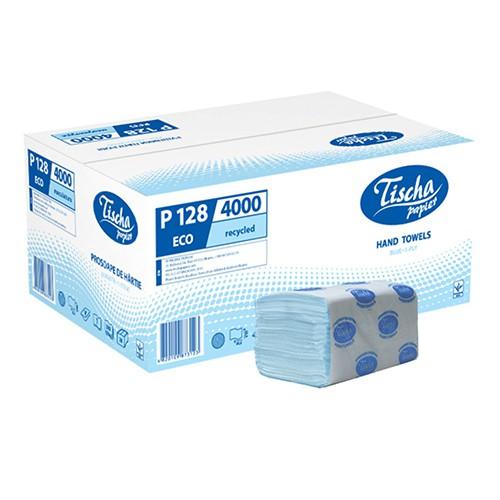 Бумажные полотенца листовые, V-укладка, макулатурные, синие. P128. - Фото №1