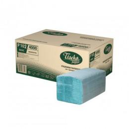 Бумажные полотенца листовые,  V-укладка, макулатурные, зеленые, эконом. р102. - Фото