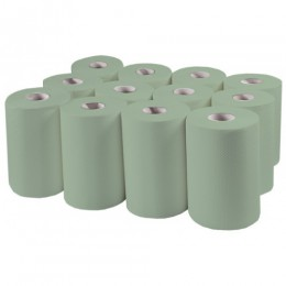 Бумажные полотенца, ролевые (рулонные) MINI, зеленые. P142.