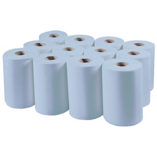 Бумажные полотенца, ролевые (рулонные) MINI, синие. P148. - Фото №1